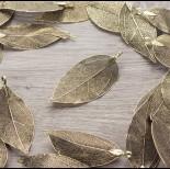 Zdjęcie - Liść naturalny metalizowany stare złoto 60mm