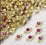 Zdjęcie - Przekładka z kryształkiem koloru złotego fuchsia  10mm