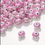 Zdjęcie - Zawieszka emaliowana oczko różowe  7mm
