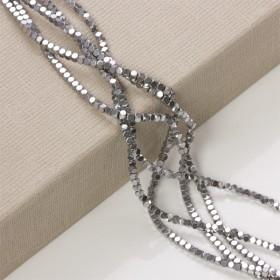 Zdjęcie - Hematyt platerowany kostka ścięta srebrny 3x3mm