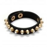 Zdjęcie - Czarna bransoletka z ćwiekami kryształowymi 18-21cm