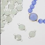 Zdjęcie - Przekładka w okuciu w srebrnym kolorze z dwoma oczkami opal mint 10mm