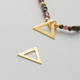 Zdjęcie - Srebrna, pozłacana blaszka celebrytka wycięty trójkąt, próba Ag925 14.5mm