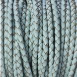 Zdjęcie - Rzemień naturalny pleciony pastelowy błękitny 4mm