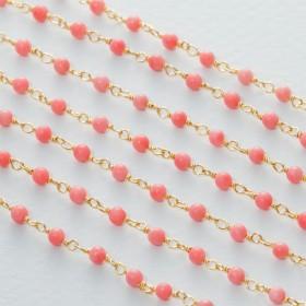 Zdjęcie - Łańcuch srebrny ag925 pozłacany z różowym koralem  3mm