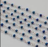 Zdjęcie - Łańcuch z kryształkami oponkami 3x4mm metallic blue  3x4mm
