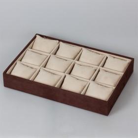 Zdjęcie - Ekspozytor welurowy z poduszkami 12 komorowy brązowy 5x35x25cm