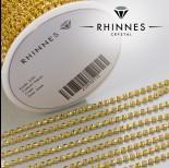 Zdjęcie - Taśma z kryształkami kolor złoty topaz 2mm