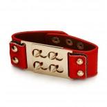 Zdjęcie - Czerwona bransoletka kolce zamykane 18-21cm