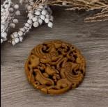 Zdjęcie - Antyczna rzeźbiona zawieszka z jadeitu brązowa 65-75mm