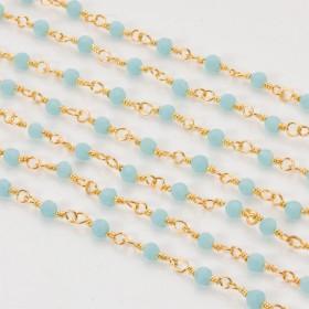 Zdjęcie - Łańcuch z kryształkami oponkami blue opal 3x4mm