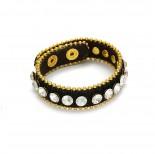 Zdjęcie - Bransoletka czarny pasek wysadzany kryształkami 18-21cm