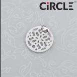 Zdjęcie - Zawieszka okrągła kwiatek wycinany ciemne srebro z kółeczkiem  15mm
