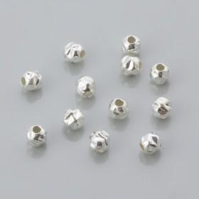 Zdjęcie - Kulki srebrne młotkowane 4mm, próba Ag925