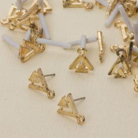 Zdjęcie - Kolczyki dwa trójkąty z oczkiem 13 mm