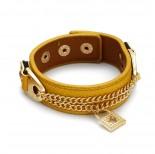 Zdjęcie - Żółta bransoletka kłódeczka na rzemieniu z łańcuszkami 18-21cm
