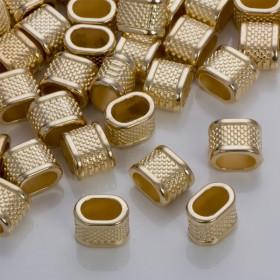 Zdjęcie - Przekładka w kropeczki do rzemieni w złotym kolorze 14,5x10,5mm