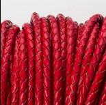 Zdjęcie - Rzemień naturalny pleciony lakierowany 4mm czerwony