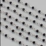 Zdjęcie - Łańcuch z kryształkami oponkami jet 3x4mm