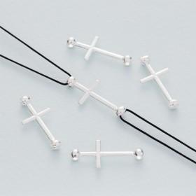 Zdjęcie - Srebrny łącznik krzyż z dwoma kuleczkami ag925 22x10mm