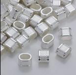 Zdjęcie - Przekładka w kropeczki do rzemieni w srebrnym kolorze 14,5x10,5mm