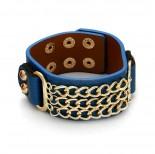 Zdjęcie - Niebieska bransoletka potrójna pancerka na pasku 18-21cm