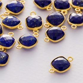 Zdjęcie - Lapis lazuli kwadrat fasetowany łącznik w okuciu pozłacanym ag925  15x9mm
