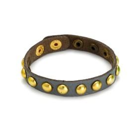 Zdjęcie - Szara bransoletka okrągłe złote ćwieki 18-21cm