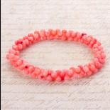 Zdjęcie - Bransoletka z kosteczek korala na gumce różowa 20cm