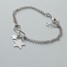 Zdjęcie - Bransoletka z gwiazdkami i nieskończonością rodowana AG925 17 - 20 cm
