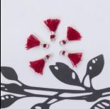 Zdjęcie - Mini chwosty w srebrnym okuciu bordowy 10mm