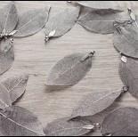 Zdjęcie - Liść naturalny metalizowany grafit 60mm