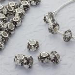 Zdjęcie - Koralik emaliowany z kryształkami biały kwiat 5mm