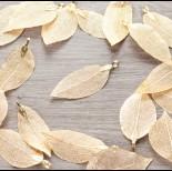 Zdjęcie - Liść naturalny metalizowany jasny złoty 60mm
