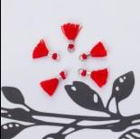 Zdjęcie - Mini chwosty w srebrnym okuciu czerwony 10mm