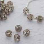 Zdjęcie - Koralik w srebrnym kolorze z kryształkami beczułka wycięta 6mm