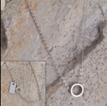 Zdjęcie - Srebrny rodowany naszyjnik z wycinanym kółeczkiem Ag925 46cm