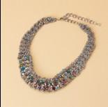 Zdjęcie - Kolia z drobnych łańcuszków z kryształkami 50cm