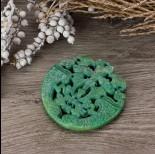 Zdjęcie - Antyczna rzeźbiona zawieszka z jadeitu turkusowa 65-75mm