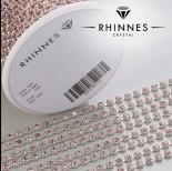 Zdjęcie - Taśma z kryształkami kolor srebrny lt. rose 3mm