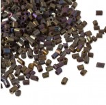 Rurki drobne rainbow shine frosted brown 2x3mm