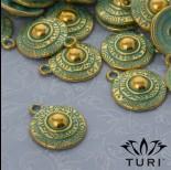 Zdjęcie - Zawieszka tarcza aztecka patyna w kolorze złotym 18 mm