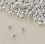 Zdjęcie - Koralik kulka z prążkami w srebrnym kolorze 3.5mm