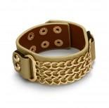 Zdjęcie - Beżowa bransoletka łańcuszki pancerki potrójne 18-21cm