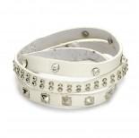 Zdjęcie - Biała bransoletka zmiksowane ćwieki 18-21cm