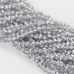 Zdjęcie - Kryształki kulki fasetowane 6mm half silver