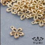 Zdjęcie - Zawieszka kwiatek ażurowy w złotym kolorze 15.5mm
