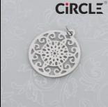 Zawieszka okrągła mandala ciemne srebro z kółeczkiem 20mm