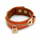 Zdjęcie - Pomarańczowa bransoletka łańcuszki z kłódkami 18-21cm