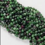 Zdjęcie - Zoisyt z rubinem kulka fasetowana 6mm zielony